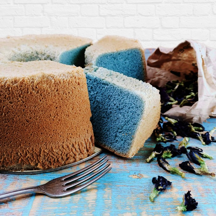Coconut Blue Pea Flower Chiffon -Birthday-Cheesecake-Delivery